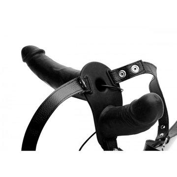 Power Pegger Dubbele Strap-On Vibrator - Zwart